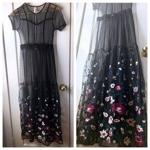 Gorgeous full length black lace floral dress